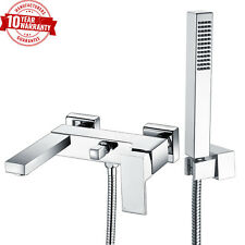 Wall Mounted Bath Shower Mixer Tap  Modern Chrome with Handheld Square Shower