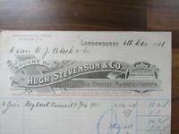 Antique Irish document receipt - Hugh Stevenson - Londonderry 1907