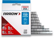 "Arrow T50 Staples, Heavy Duty, 3/8"", 1250 Per Pack"