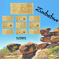 WR Banconote Mondiali Zimbabwe 100 Trillion 10PCS GOLD Banknotes Collectibles