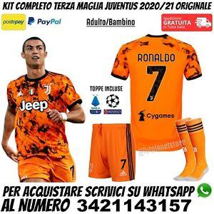 Terza Maglia Completo Juventus 2020 2021 Ronaldo Juve Arancione Third Originale