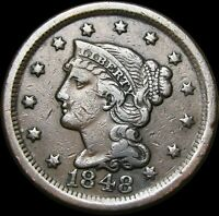 1848 Braided Hair Large Cent Penny  ---- Type Coin  ---- #K251