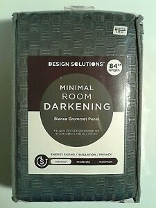 "Bianca 84-Inch Grommet Top Window Curtain/Panel  Charcoal   52 x 84""  Darkening"