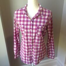 OLD NAVY Womens L Purple White Plaid Picnic Casual Top Shirt Blouse Button Down