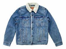 Levis Mens L Medium Blue Wash Sherpa Denim Jean Quilted Sleeve Trucker Jacket