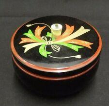 VINTAGE BLACK PLASTIC POWDER JAR VANITY TRINKET/JEWELRY BOX VINTAGE RETRO BLACK
