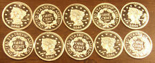 10 One 1 Gram .999 Silver Rounds 1846 Large Cent..........Free Shipping..Lot A52