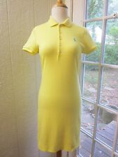"Ralph Lauren Yellow Short sleeve Blue Pony Logo Polo Shirt Dress Women S/P ""EX"""