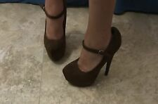 Women's Brown Suede Stiletto High Heel Pumps used Size 8