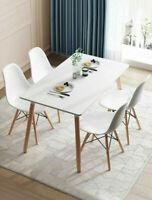 Dining Kitchen 5 Psc SET Rectangular Table 4 Warm Chairs Wood White Finish