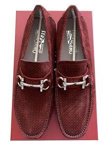 "$595 Mens Salvatore Ferragamo ""Parigi"" Suede Bit Loafers Rouge Red 8.5 EE"