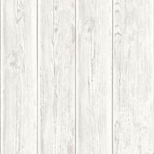 MURIVA WOOD BEAM PANEL PATTERN WOODEN FAUX EFFECT TEXTURED VINYL WALLPAPER WHITE