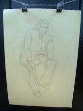 Wealthy Man Portrait 1953 Original Pencil Sketch By C. Kelm