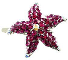 Magnet Hair Clip use Swarovski Crystal Hairpin Starfish Seastar Mermaid Hot Pink