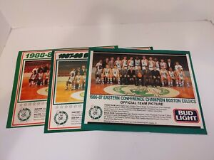 Lot of 3 80s Boston Celtics Team Pictures Larry Bird Kevin McHale Robert Parrish