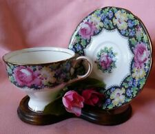 Vintage Parragon Gingham Rose Bone China Tea Cup & Saucer Set