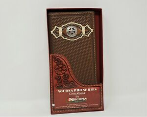 NOCONA GENUINE LEATHER BASKETWEAVE/STAR  RODEO WALLET/CHECKBOOK COVER
