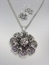 Vintage Antik Silber Markasit Kristall Starburst Medaillon Netz Halskette Set