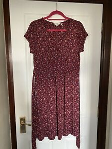Lovely Fat Face Red Floral Jersey Dress Size 16