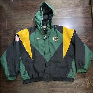 Vintage Green Bay Packers Hooded 90s Puffy NFL Football Jacket Mens XXL Reebok