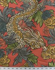 Drapery Upholstery Fabric Linen-Look Slub Asian Flowers & Dragons - Cinnamon
