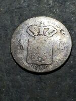 1856 NETHERLANDS EAST INDIES 1/10 GULDEN SILVER Colonial Coin