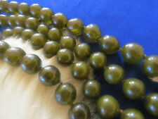 Gripoix Poured Glass bead two strand necklace olive color France 1960's
