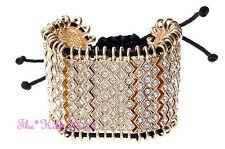 Unusual Designer Catwalk Wide Gold Fill Pull Bracelet Cuff w/ Swarovski Crystals