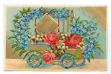 Many Happy Returns Of The Day Floral Car Postcard c1910