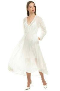 RRP€300 IRO Gauze A-Line Dress Size 38 M Crochet Trim Pleated Long Sleeve V Neck