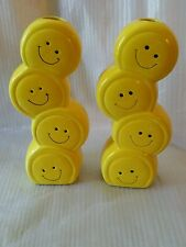 2 Smiley Face Flower Vase (s) / Planter Four Tier Ceramic 8 1/2 inch Tall