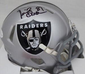 Tim Brown Autographed Signed Raiders Speed Mini Helmet (Smear) Beckett WF42916