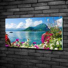 Glas-Bild Wandbilder Druck auf Glas 100x50 Deko Landschaften Blumen am See