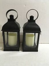 """2 PACK HOME TRENDS Small  10"""" Black Lantern with Candle, battery operated."""