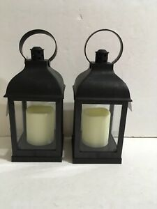 "2 PACK HOME TRENDS Small  10"" Black Lantern with Candle, battery operated."
