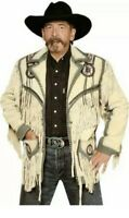 Men Suede Western Style Cowboy Leather Jacket With Fringe