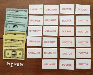 Vtg 1965 OPERATION Game Milton Bradley Extra Parts Money Cards Game Pieces