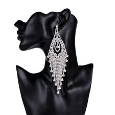 18K WHITE GOLD PLATED CUBIC ZIRCONIA LONG DANGLE STATEMENT TASSEL EARRINGS