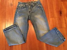 BKE DENIM TYLER BUCKLE MENS JEANS SIZE 33 X 32 DISTRESSED COTTON BOOT CUT NICE