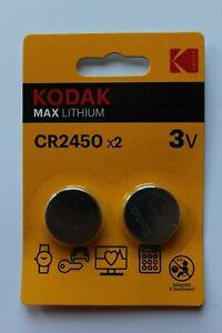 2 x Batterien  Kodak CR2450 DL2450 ECR2450 Lithium Knopfzelle 1 Blister