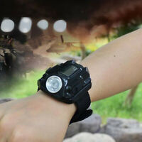 Tactical LED Rechargeable Wrist Watch Flashlight Compass Outdoor Hiking Torch US
