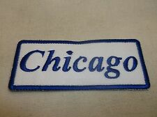 CHICAGO NEW EMBROIDERED SEW / IRON ON NAME PATCH BLUE ON WHITE  1.5  X 3.5