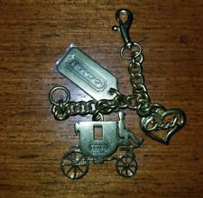 Coach Carriage, Heart, Tag brass tone Bag Charm/key authentic