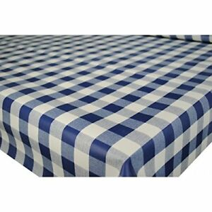 Plain Navy Gingham Check White Squares Pvc Vinyl Table Cloth Kitchen
