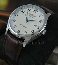 Classical Men's Stainless Steel Leather Date Automatic Mechanical Wrist Watch