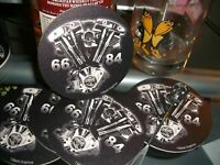 Harley**5 for 10.00**Beer SHOVEL Coasters * BEER COASTERS* Made in U.S.A.*