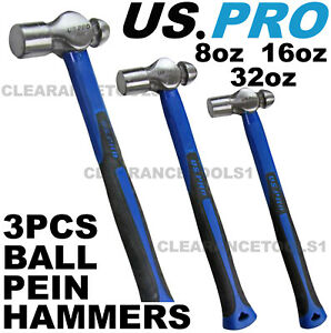 US PRO 3pc Ball Pein Hammers Set 8 16 32oz TPR Handle 1665 Machinists TPR Hammer