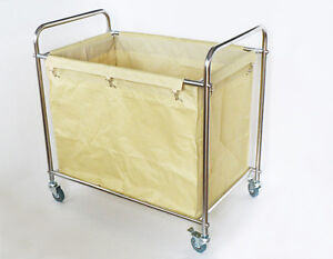 Hotel / Home Clothes Hamper Laundry Cart with Casters & Canvas Bag Movable Tool