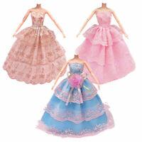 3Pcs Fashion Handmade Dolls Clothes Wedding Grow Party Dresses For Dolls B2A6