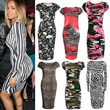 Ladies Celeb Inspired Neon Army Leopard Skull Rose Pencil Fitted Bodycon Dress